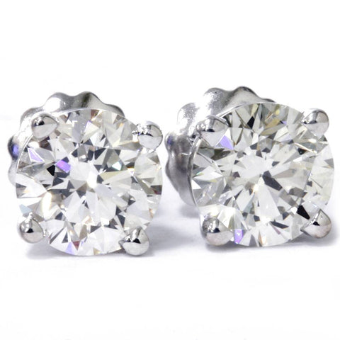 G/VS 3 Carat Round 100% Diamond Studs Screw Back 14K White Gold Lab Grown
