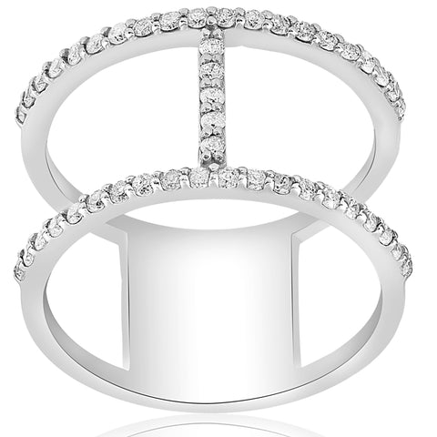 G/I1 1/2ct Fashion Diamond H Shape Wide Right Hand Ring 14K White Gold Size 7
