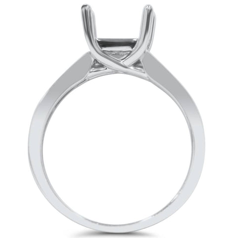 14K White Gold Solitaire Princess Cut Engagement Ring Setting Fits 5.5mm SZ 6.5