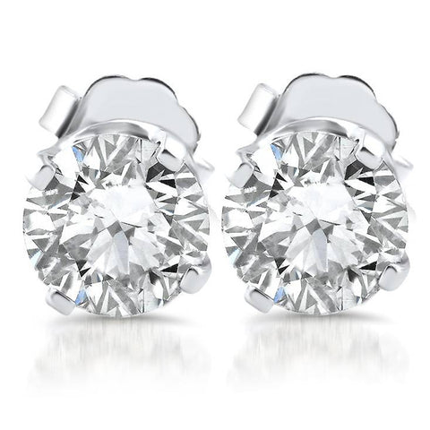 F/G SI 1.10ct Diamond Studs 14k White Gold Clarity Enhanced