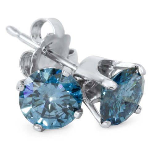 1 1/4ct Treated Blue Diamond Studs 14K White Gold