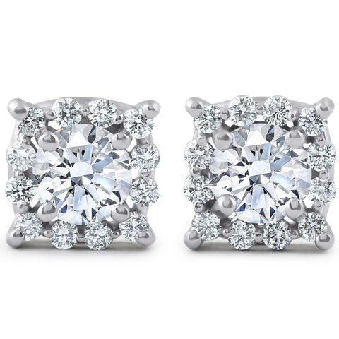 1.40ct Cushion Halo Diamond Studs 14K White Gold