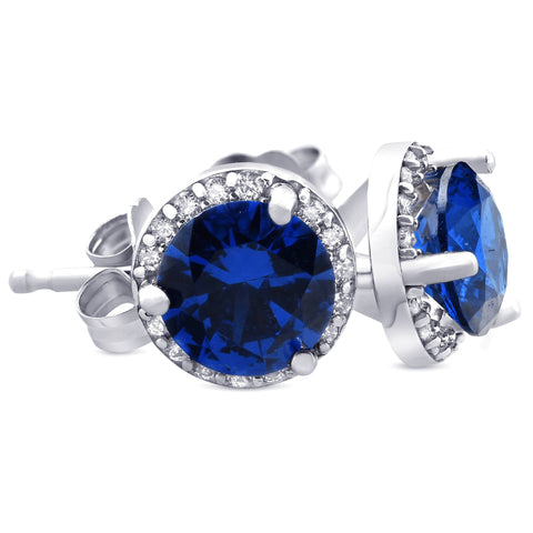 1.00Ct Blue Sapphire & Diamond Halo Studs 18K White Gold Earrings