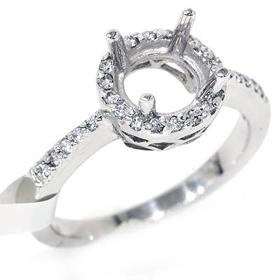 1/4ct VS 14k White Halo Diamond Engagement Semi Mount Setting Ships in 1 day