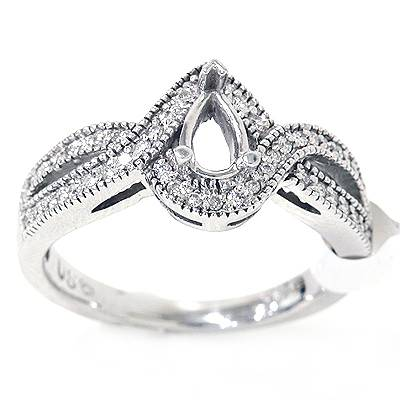 1/5ct SI Pear Shape Diamond Engagement Semi Mount Ring Setting Ships in 1 day