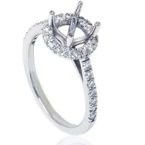 3/8ct Halo Engagement Ring Setting solid 14K White Gold