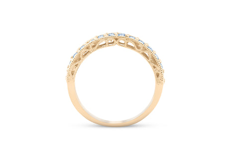 1/3Ct Diamond Wedding Ring Vintage Antique Accent Womens Band 14k Yellow Gold