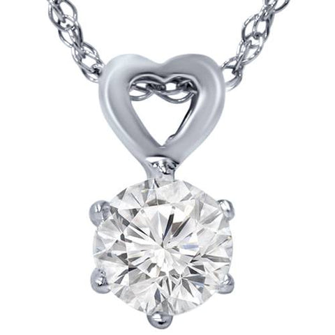 "G/SI 1/2ct Solitaire Diamond Heart Pendant 14K White Gold & 18"" Chain Enhanced"
