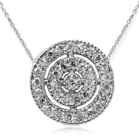 VS 3/8ct Pave Halo Diamond Circle Pendant 14K White Gold