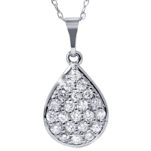 "1/2ct Diamond Pave Diamond Pear Shape Cluster Pendant 14K White Gold 3/4"" Tall"