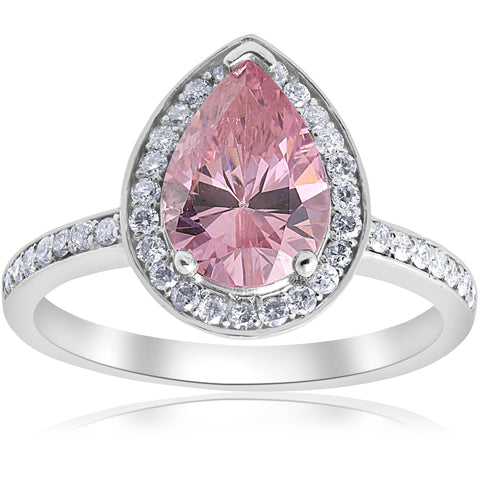 4 1/10ct Pink Tourmaline & Diamond Vintage Halo Ring 14K White Gold