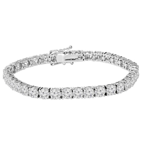 G SI 9 ct Round Lab-Created Diamond Tennis Bracelet 14K White Gold 7""