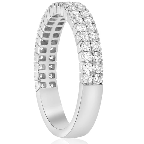 FVVS 3/4ct Diamond Double Row Stackable 1/2 Eternity Ring 14k White Gold