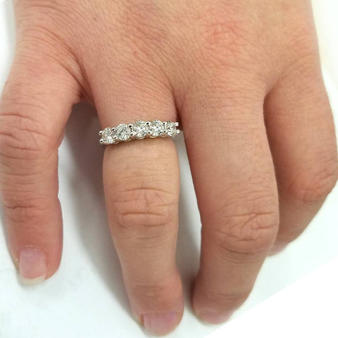 VS/G 1 1.20 ct Five Stone Diamond Wedding Womens Anniversary Ring 14K White Gold