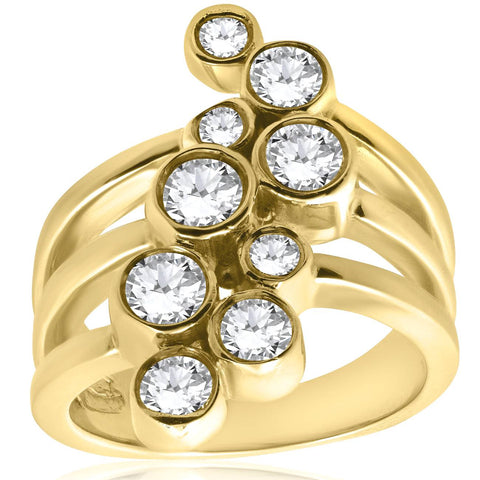 1CT Diamond Journey Right Hand Multi Rose Bezel Ring 14K Yellow Gold