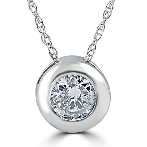 3/4ct Round Bezel Solitaire Real Pendant 14K White Gold