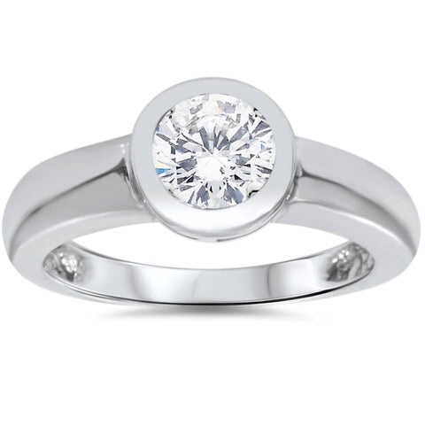 1ct Bezel Set Solitaire Diamond Engagement Ring 14K White Gold Round Enhanced