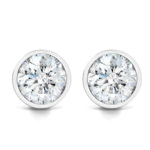 3/4ct Bezel Set Diamond Studs 14K White Gold