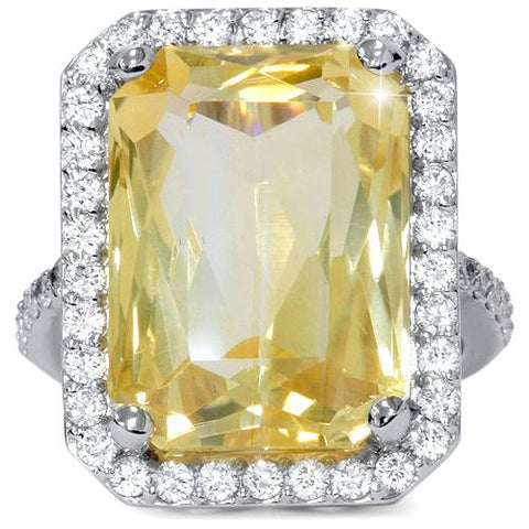 9 3/8ct Diamond Halo & Emerald Citrine Vintage Ring Solid 14K White Gold