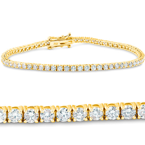 3 Ct Diamond 18K Yellow Gold Round Cut Tennis Bracelet 7""