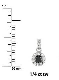 1/4ct Treated Black Diamond Petite Halo Solitaire Pendant 14K White Gold
