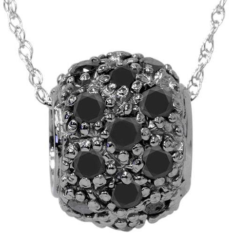 1ct Treated Black Diamond Pave Puff Slide Pendant 14K White Gold Necklace