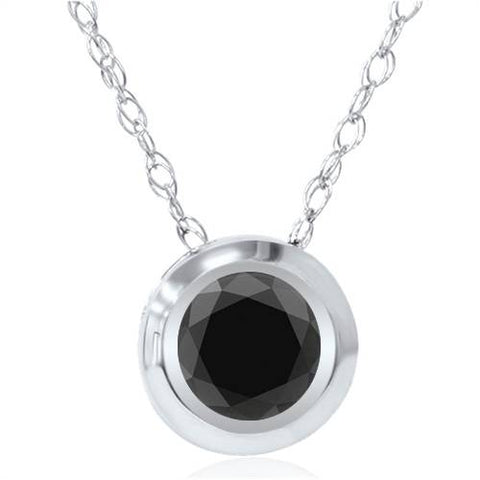 1ct AAA Treated Black Diamond Solitaire Bezel Pendant 14K White Gold