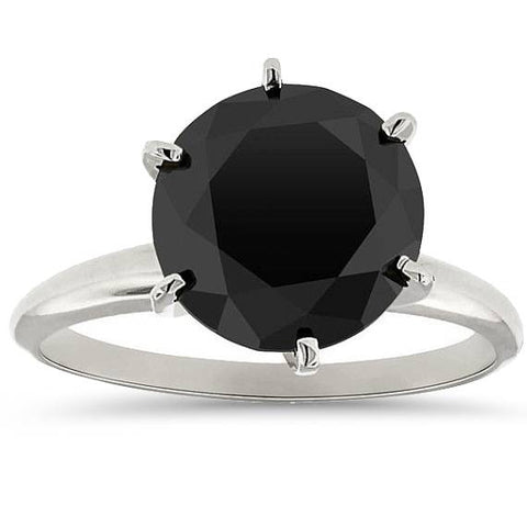 5.50TCW 14k White Gold Round Cut AAA Treated Black Diamond Solitaire Engagement