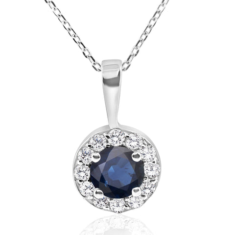 "1 ct Blue Sapphire & Diamond Halo Pendant 14k White Gold & 18"" Chain"