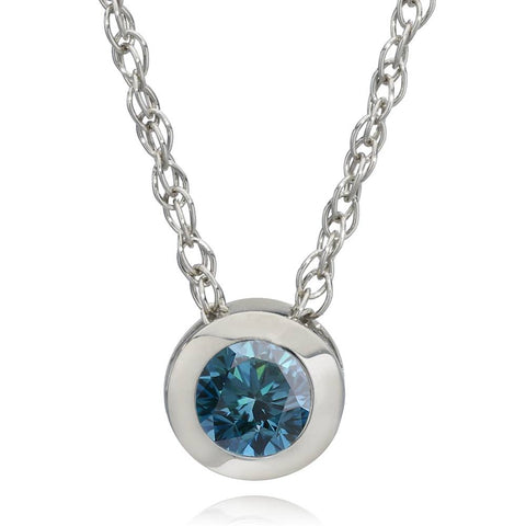 "1/2ct Solitaire Blue Diamond Pendant 14K White Gold With 18"" Chain"