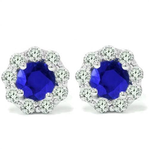 2 1/2ct Blue Sapphire & Diamond Studs 14K White Gold