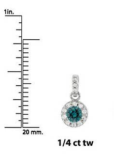 Treated 1/4ct Blue Diamond Petite Halo Solitaire Pendant 14K White Gold