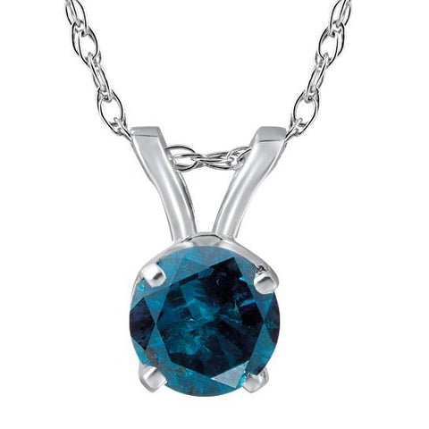 1/2ct Treated Blue Round Cut Diamond Solitaire Pendant Solid 14K White Gold