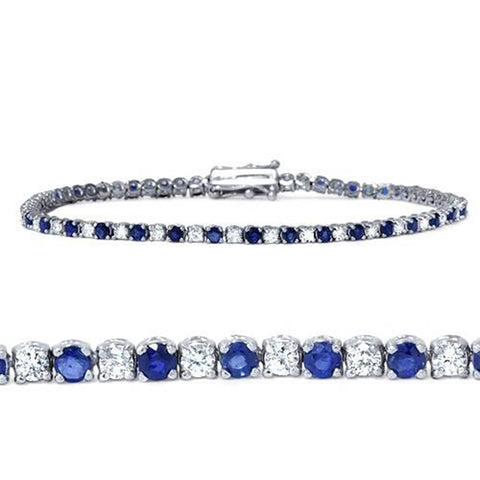 3ct Blue Sapphire & Diamond Tennis Bracelet 14K White Gold