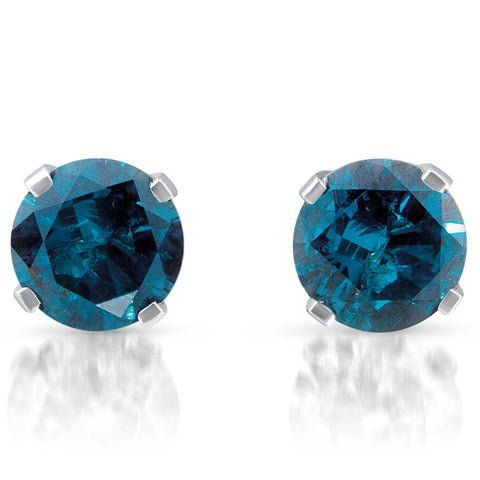 3/8ct Treated Blue Round Diamond Studs 10K White Gold