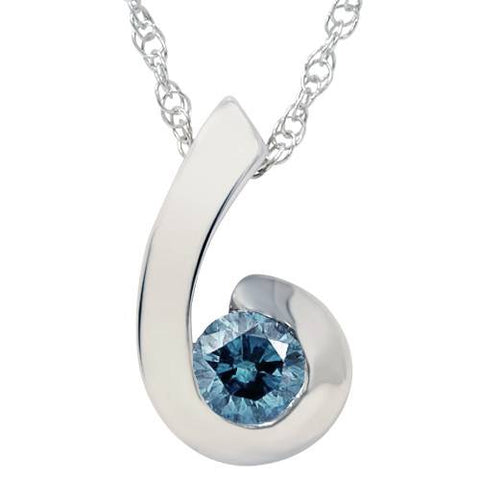 1/4ct Treated Blue Diamond Solitaire Pendant Solid 14K White Gold
