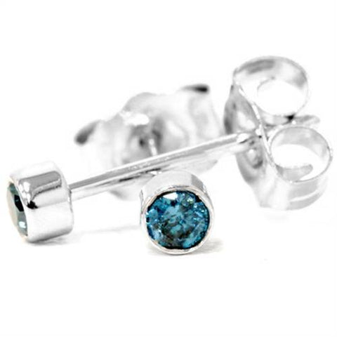 1/8ct. Blue Round Brilliant Cut Diamond Stud Earrings 14K White Gold