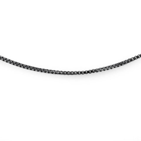 "18"" 14K Black Gold Italian Handmade Box Chain Necklace"