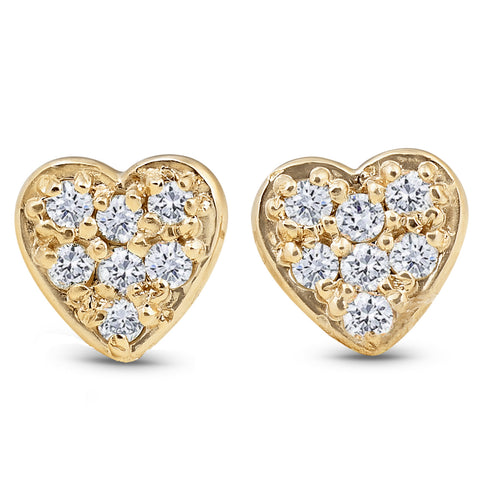 14K Yellow Gold Diamond Pave Petite Heart Studs Dainty High Polished 5.7MM