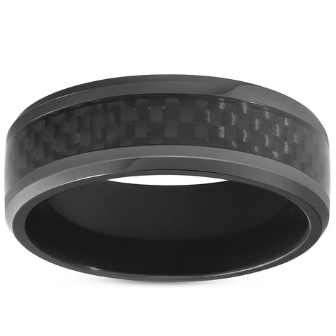 Black Titanium 8mm Beveled Band with Black Carbon Fiber Inlay Comfort Fit