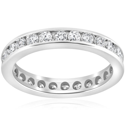 1 1/2ct Channel Set Diamond Eternity Ring 14K White Gold Womens Wedding Band