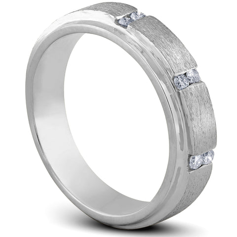 Mens 1/8ct Diamond Brushed Wedding Ring Comfort Fit Band