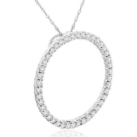 1 Ct Real Diamond Circle Of Life Eternity Round Pendant 14K White Gold
