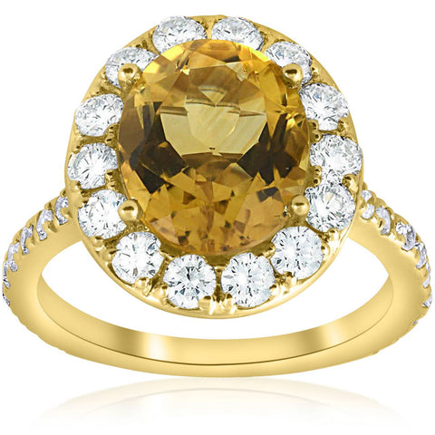 G-SI 4 1/2 ctw Oval Citrine Diamond Halo Vintage Ring Engagement 14k Yellow Gold
