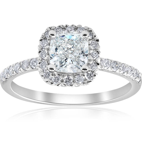 SI 2 ct Cushion Diamond Halo Engagement Ring White Gold Enhanced 1ct Center