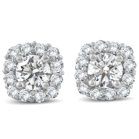 1 1/2ct Diamond Cushion Halo Studs 14k White Gold