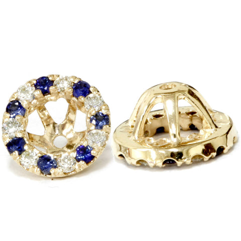 VS 5/8ct Blue Sapphire & Diamond Earring Jackets 14k Yellow Gold