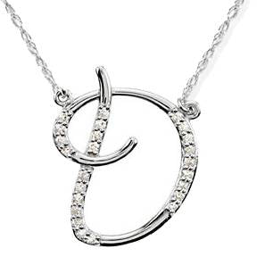 "Diamond ""D"" Initial Pendant 18"" Necklace 14K White Gold"