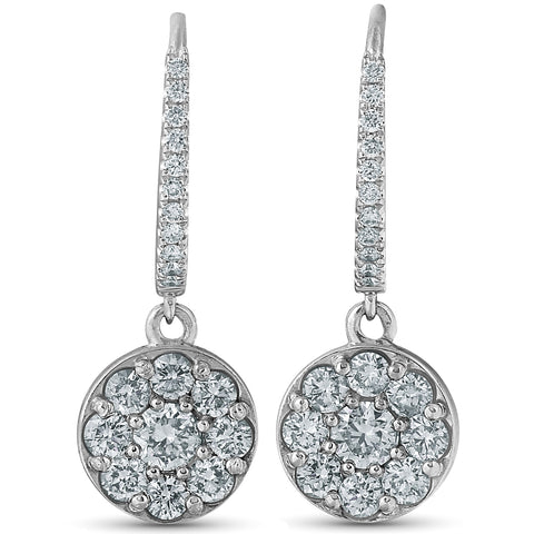 "F/VS 1.15ct Dangle Diamond Halo Earrings Womens 18k White Gold Hoops 1"" Tall"