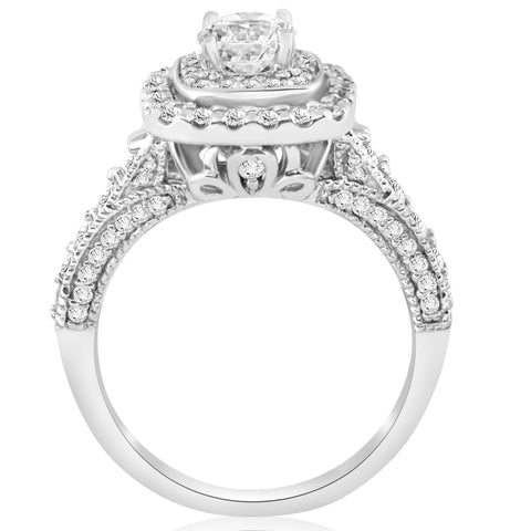 1 1/2ct Double Halo Cushion Vintage Diamond Engagement Ring 14K White Gold